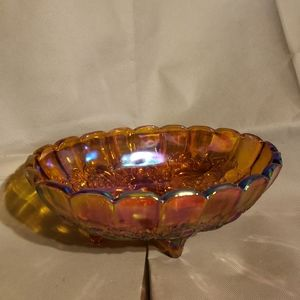 Carnival Glass- Oval Footed Bowl - Amber
